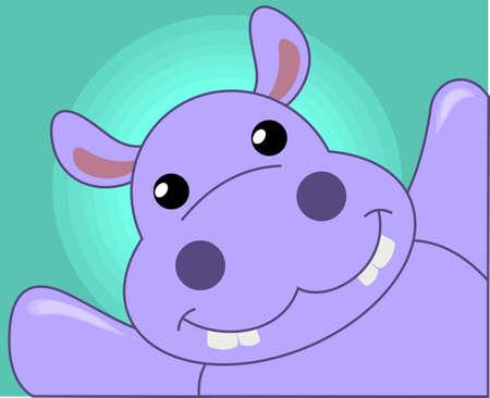 A happy hippo Vettoriali