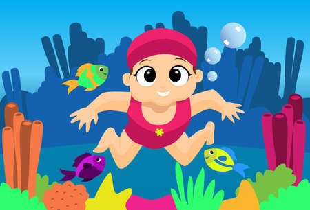 A little girl swimming under the sea