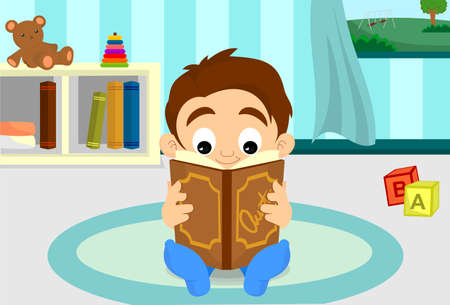 A boy reading in his room with slippers