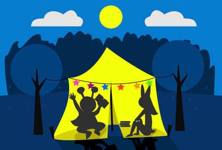 Twee kinderen kamperen op hun achtertuin Stockfoto - 45459167