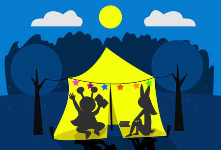 Two kids camping on their backyard