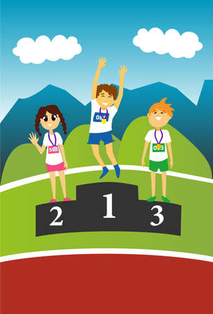 first day: Two boys and one girl standing on an award podium