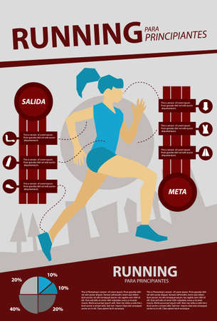 one woman: Infographic of health showing one woman running Illustration