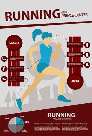 Infographic van gezondheid die één vrouw lopen Stock Illustratie