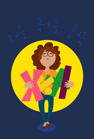 one girl only: Teacher or girl holding a mathematical symbols in her arms Illustration