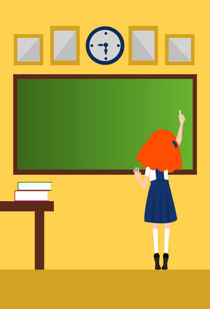 one girl only: One preschooler girl writing on the blackboard classroom Illustration