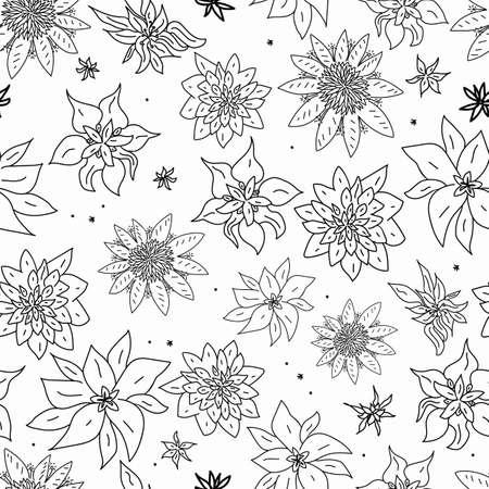 Vector White Black flowers doodle background pattern Vektorové ilustrace