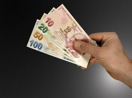 turkish lira:  turkish lira in hand