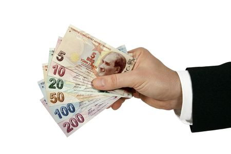 turkish lira: turkish lira in businessmans hand