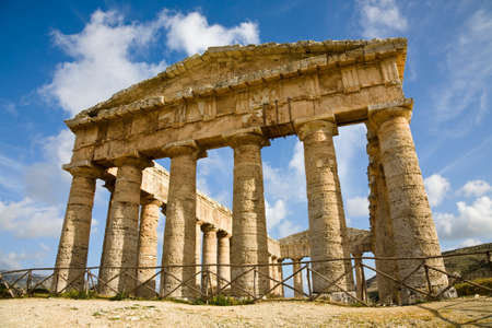 The doric Hellenic temple of Segesta in Sicily, Italy photo
