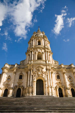 ragusa: The baroque Saint George cathedral of Modica in the province of Ragusa in southern Sicily in Italy Stock Photo