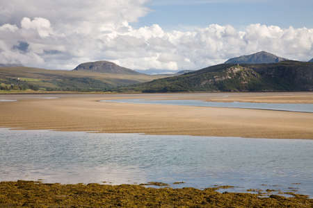kyle: A view on the mountains next to the Kyle of Tongue seen from the Kyle of Tongue bridge, Scotland Stock Photo