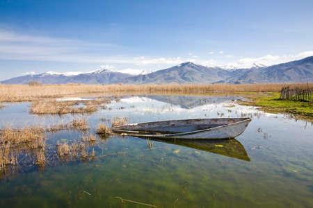 The Small Prespa Lake or Limni Mikra Prespa in Macedonia in northern Greece photo