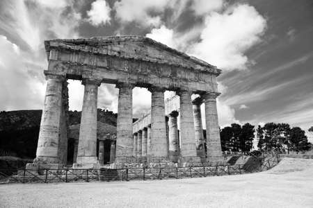 The hellenic temple of Segesta in Sicily in black and white photo