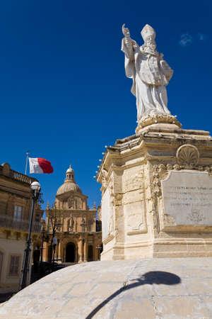 'saint nicholas': The church and statue of Saint Nicholas of the town of Siggiewi in Malta
