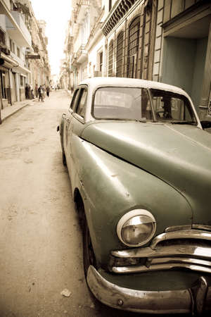 An old automobile in the center of Havana in Cuba photo