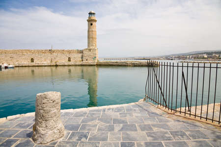 rethymno: The port and lighthouse of Rethymno in Crete, Greece