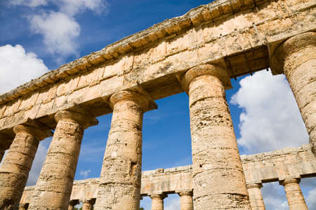 The columns of a greek temple in Segesta in Sicily, Italy photo