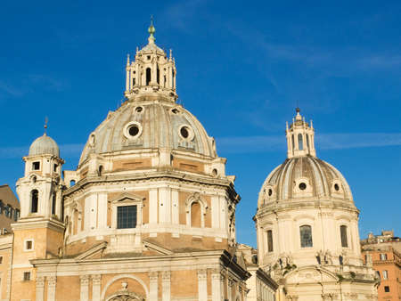 cupolas: Two twin churches on the Trajan Forum in Rome, Italy Stock Photo