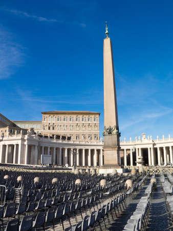 pilasters: Empty seats on Saint Peter Stock Photo