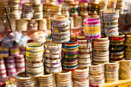 rajasthan: A number of traditional Indian bangles or armbands on a market in Jodhpur, Rajasthan, India