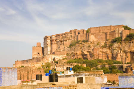rajasthani: The Mehrangarh fortress on a hilltop in the rajasthani Blue City of Jodhpur in Rajasthan India