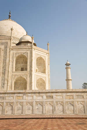 mughal: The side of the famous Indian landmark Taj Mahal, a mughal mausoleum in the town of Agra, India