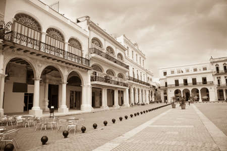 vieja: The old square or Plaza Vieja in Old Havana which is the historic center of the colonial town of Havana in Cuba Stock Photo