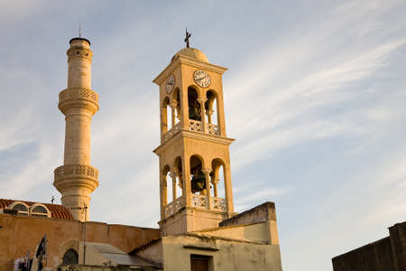 saint nicholas: The Saint Nicholas church with minaret at sunset in the old town of Chania, Crete, Greece