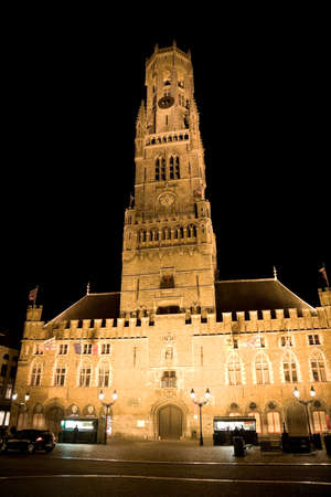 flanders: A night scene of the belfort of Bruges in the Flanders region of Belgium