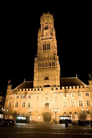 belfort: A night scene of the belfort of Bruges in the Flanders region of Belgium