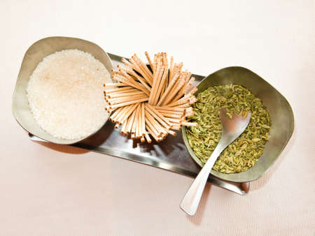 saunf: Indian mouth freshener mix made of sugar and fennel seeds Stock Photo