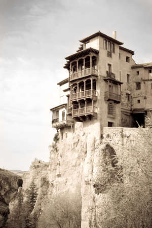 spanish houses: Cuenca, Spain - 2012, April 27 : The hanging houses or casas colgadas of Cuenca, housing a restaurant and a museum of Spanish abstract art Editorial
