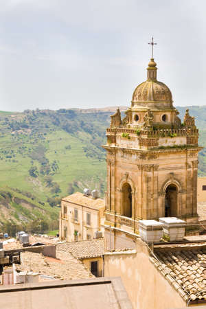 san giacomo: The bell tower of the San Giacomo church of the town of Caltagirone in the Catiana province of Sicily in Italy