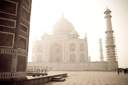 uttar pradesh: The Taj Mahal, a famous landmark in the state of Uttar Pradesh in India, in the mist Stock Photo