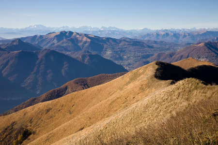 destination scenics: An alpine landscape seen from the San Primo mountain in the Italian Lake District near Como in Lombardy, Italy Stock Photo