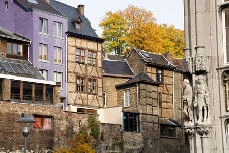 liege: The street with historic houses behind the Prince-Bishops palace or Palace of Justice in Liege in the region of Wallonia in Belgium