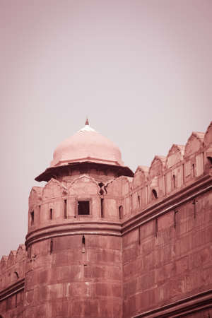 turret: A turret of the historic landmark called the Red Fort in Old Delhi in India