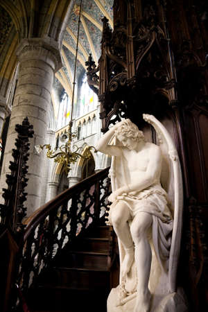 walloon: The statue from 1848 known as Genius of Evil or Lucifer from Liege in the Saint Pauls cathedral of the town of Liege in Belgium
