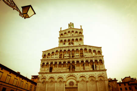 or san michele: The gothic facade of the San Michele church of the Tuscan town of Lucca in central Italy