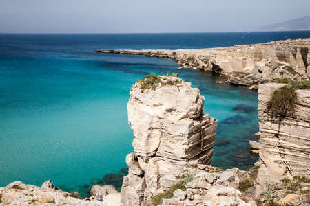 egadi: A view on the Cala Rossa, a famous bay on the island of Favignana near Trapani in Sicily, Italy