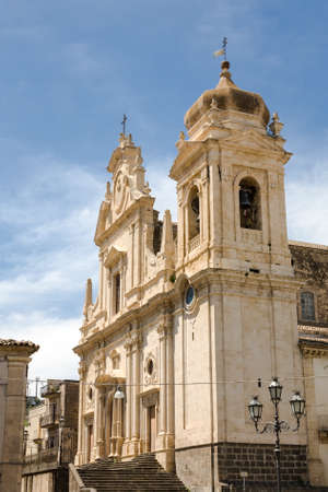 The facade of the baroque Mother Church of San Nicolo and Santissimo Salvatore in the town of Militello in Val di Catania in southern Sicily, Italy