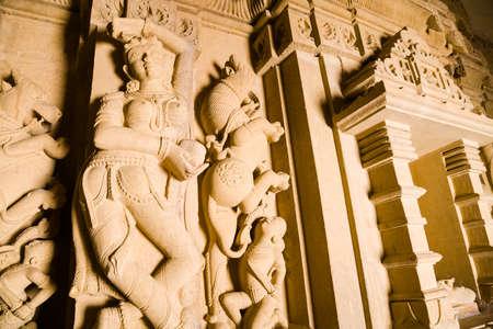 sagar: Detail of decorations of the Adeshwar Nath Jain temple in Amar Sagar near Jaisalmer in Rajasthan, India Stock Photo