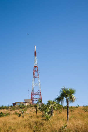 A broadcast tower or mast standing in an exotic location, Cuba Stock Photo