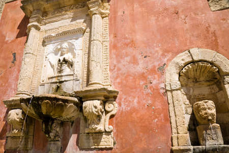 The historic fountain of the Nymph Zizza built in 1607 in the baroque town of Militello in Val di Catania in Sicily, Italy