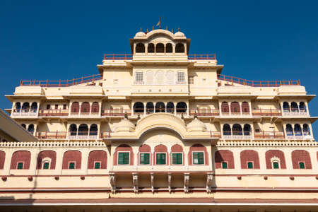 Jaipur, India - 2014, December 29 : The Chandra Mahal building which is the royal residence of the Jaipur Maharaja inside the City Palace complex in Rajasthan, India Editorial