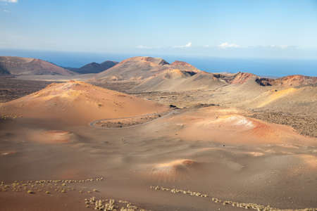 An aerial view on some of the volcanoes of the Timanfaya National Park of Lanzarote, one of the Spanish Canary Islands
