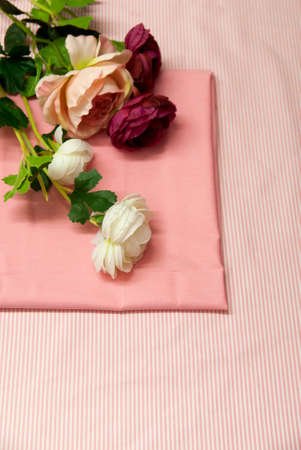 Pink Fabric Linen with White Stripes and White and Red Rose Flower Stock fotó