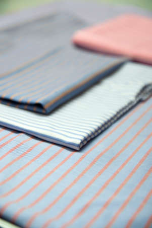 Blue Fabric Linen With Red, Brown and Blue Striped Stock fotó