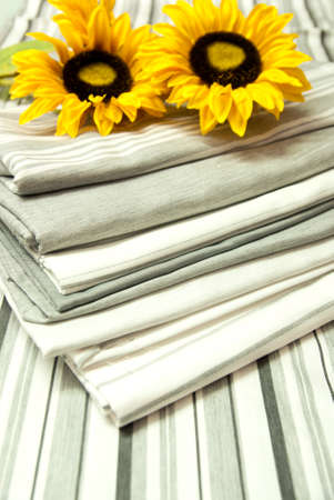 Gray Fabric and Linen Striped with Sunflower